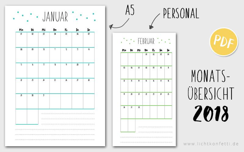 Lichtkonfetti Free Printable Kalender 2018
