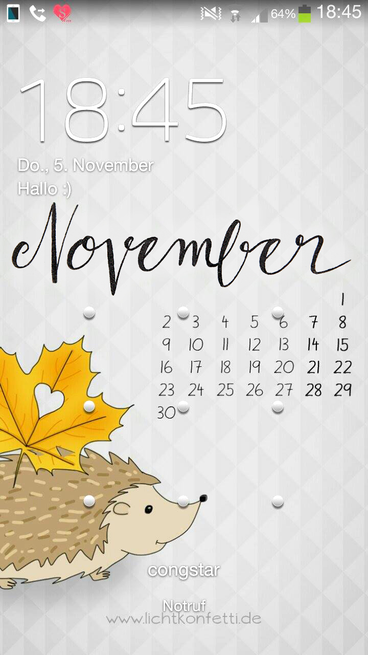 Wallpaper November 2015 iPhone - Igel Laubblatt Herbst - Hedgehog Autumn