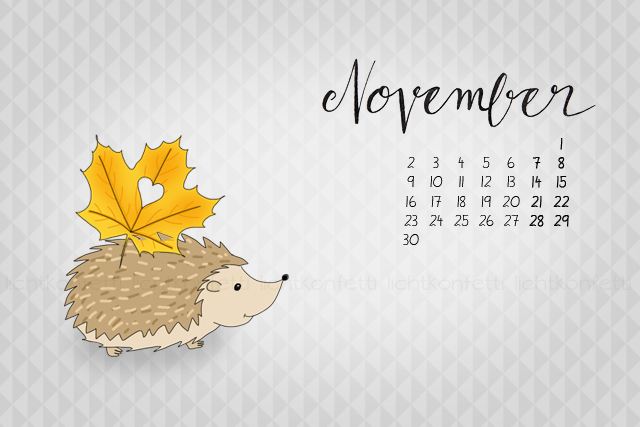 Wallpaper November 2015 - Igel Laubblatt Herbst - Hedgehog Autumn