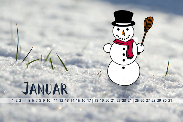 free Wallpaper Januar 2016 - Schneemann Snow