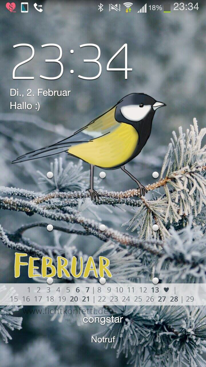 free Wallpaper Februar 2016 iPhone - Winter Vogel Kohlmeise