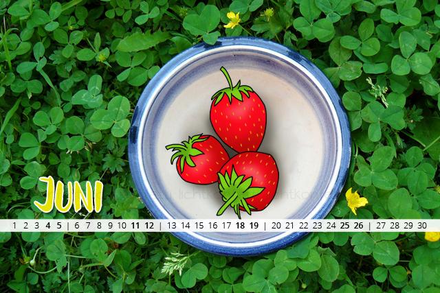 free Wallpaper Juni 2016 - Erdbeeren Sommer