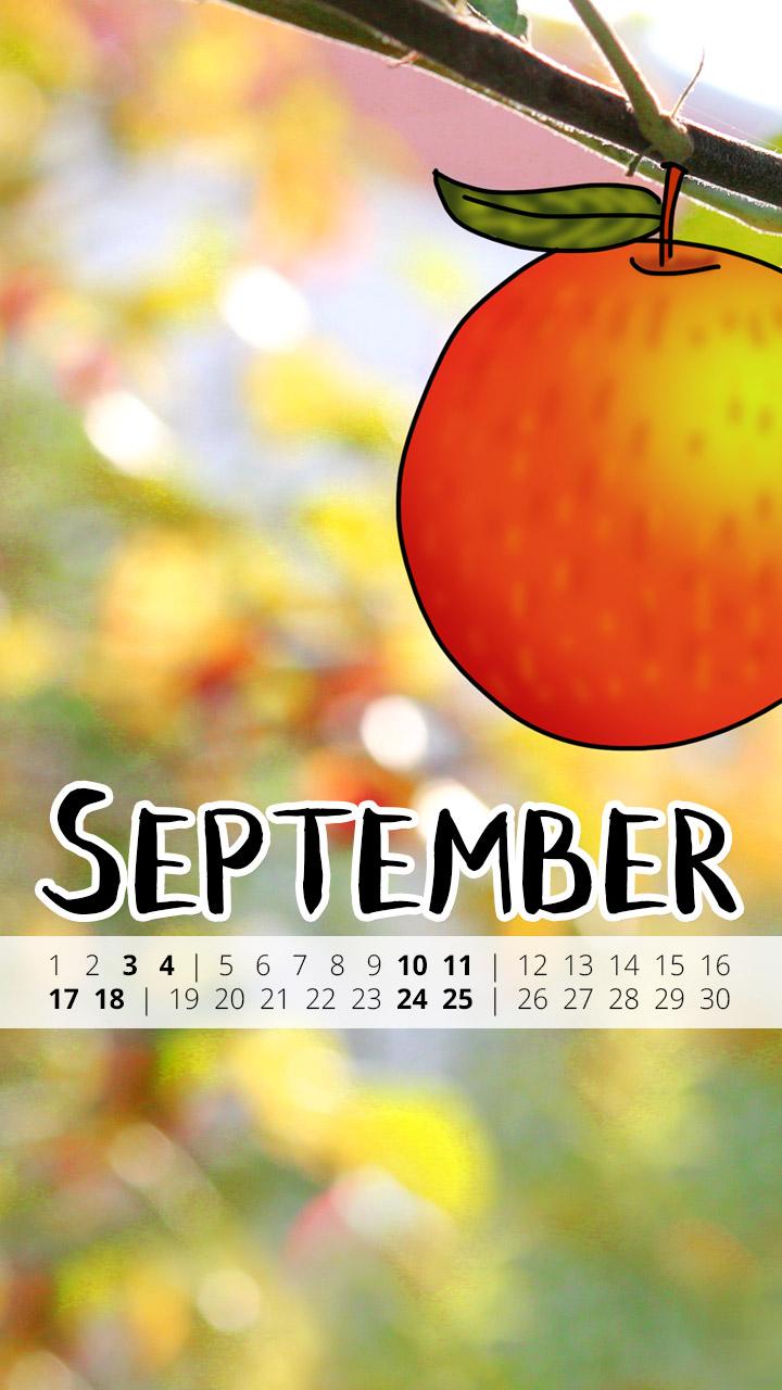 free Wallpaper September 2016 iPhone - Apfel Herbst Autumn
