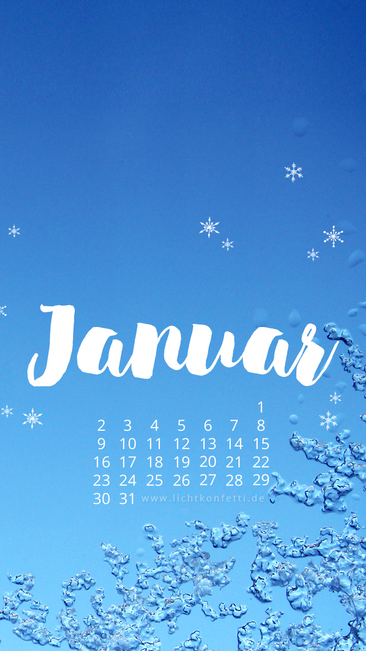 free Wallpaper Januar 2017 iPhone - Winter Schnee blau