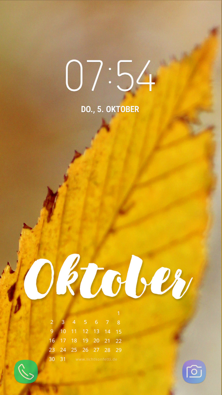 free Wallpaper Oktober 2017 iPhone - Herbst Laub