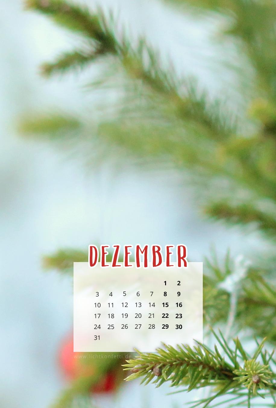 free Wallpaper Dezember 2018 iPhone - Tannenzweig Weihnachten